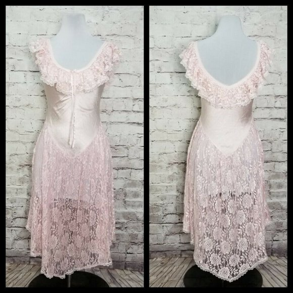 VTG Nite Images Pink Lace Drop Waist Nightgown